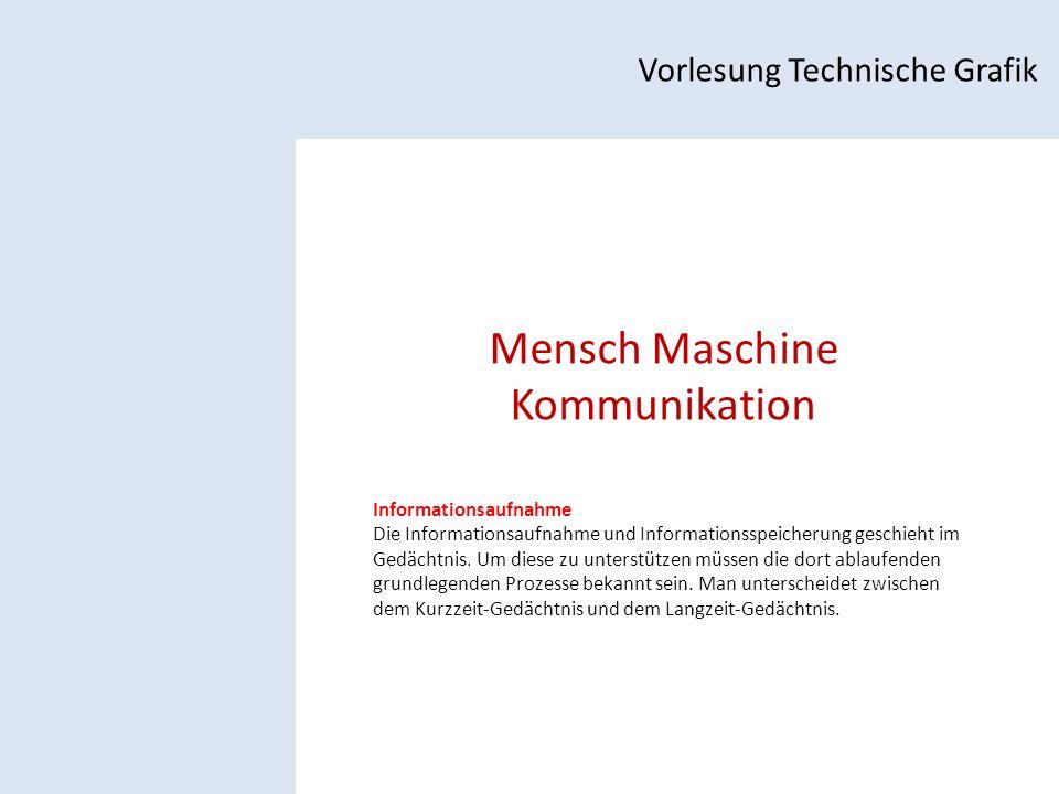Mensch Maschine Kommunikation Vorlesung Technische Grafik Informationsaufnahme Die Informationsaufnahme und Informationsspeicherung geschieht im Gedächtnis.