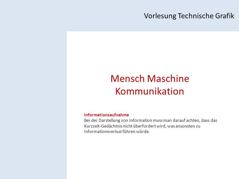 Mensch Maschine Kommunikation Vorlesung Technische Grafik Informationsaufnahme Bei der Darstellung von Information muss man darauf achten, dass das Kurzzeit-Gedächtnis nicht überfordert wird, was ansonsten zu Informationsverlust führen würde.