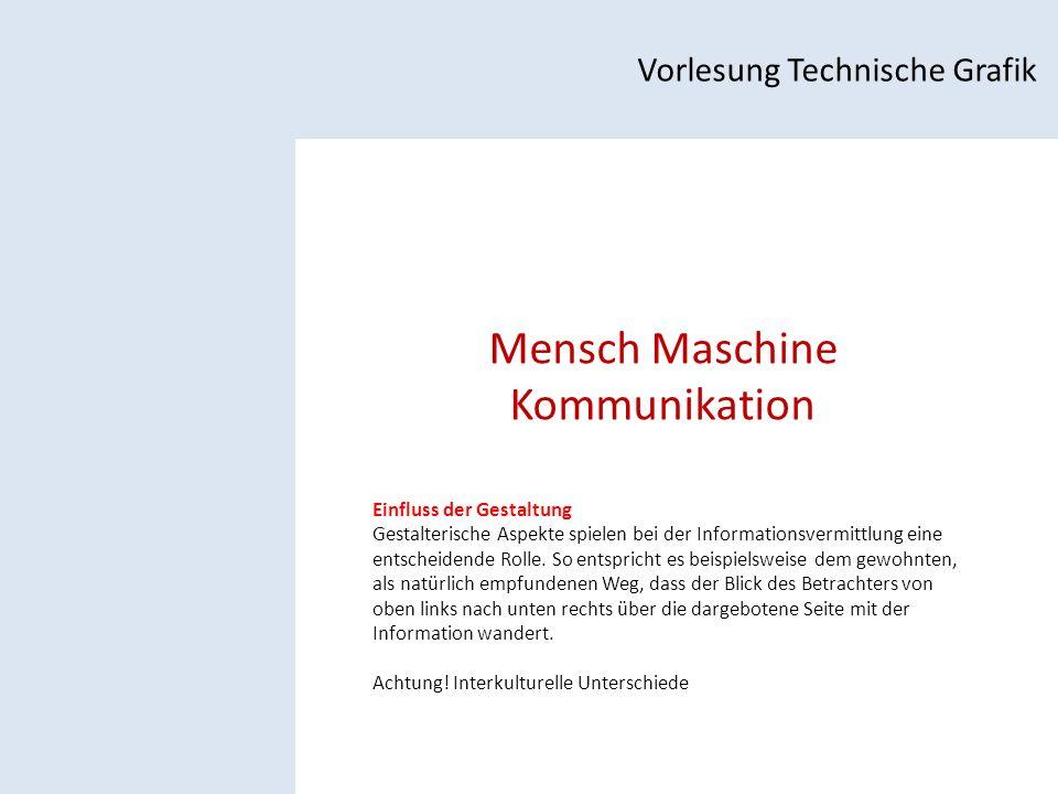 Mensch Maschine Kommunikation Vorlesung Technische Grafik Einfluss der Gestaltung Gestalterische Aspekte spielen bei der Informationsvermittlung eine entscheidende Rolle.