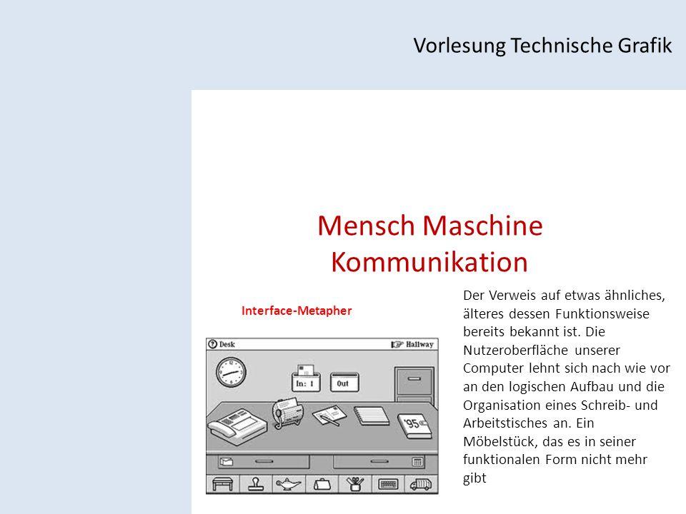 Mensch Maschine Kommunikation Vorlesung Technische Grafik Interface-Metapher Der Verweis auf etwas ähnliches, älteres dessen Funktionsweise bereits bekannt ist.