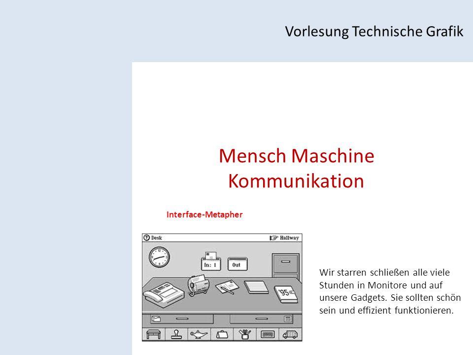 Mensch Maschine Kommunikation Vorlesung Technische Grafik Interface-Metapher Wir starren schließen alle viele Stunden in Monitore und auf unsere Gadgets.