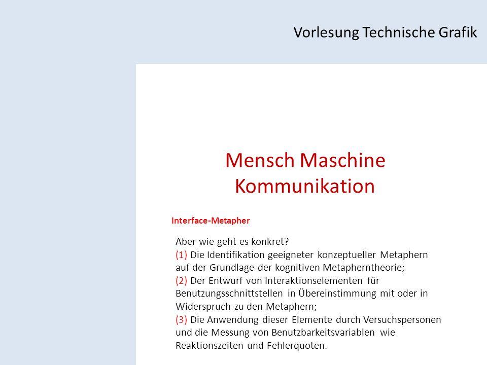 Mensch Maschine Kommunikation Vorlesung Technische Grafik Interface-Metapher Aber wie geht es konkret.