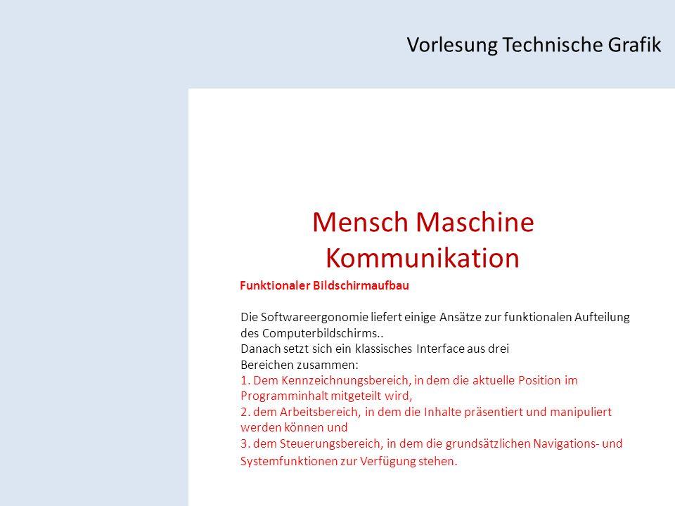 Mensch Maschine Kommunikation Vorlesung Technische Grafik Funktionaler Bildschirmaufbau Die Softwareergonomie liefert einige Ansätze zur funktionalen Aufteilung des Computerbildschirms..