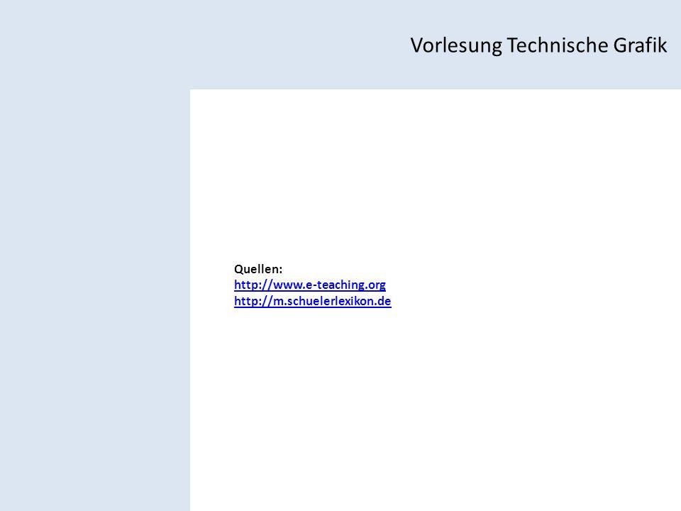 Vorlesung Technische Grafik Quellen: http://www.e-teaching.org http://m.schuelerlexikon.de
