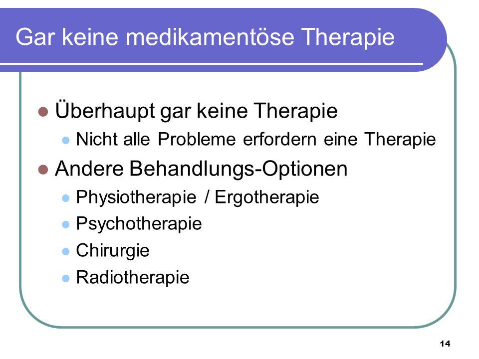 Gar keine medikamentöse Therapie Überhaupt gar keine Therapie Nicht alle Probleme erfordern eine Therapie Andere Behandlungs-Optionen Physiotherapie / Ergotherapie Psychotherapie Chirurgie Radiotherapie 14