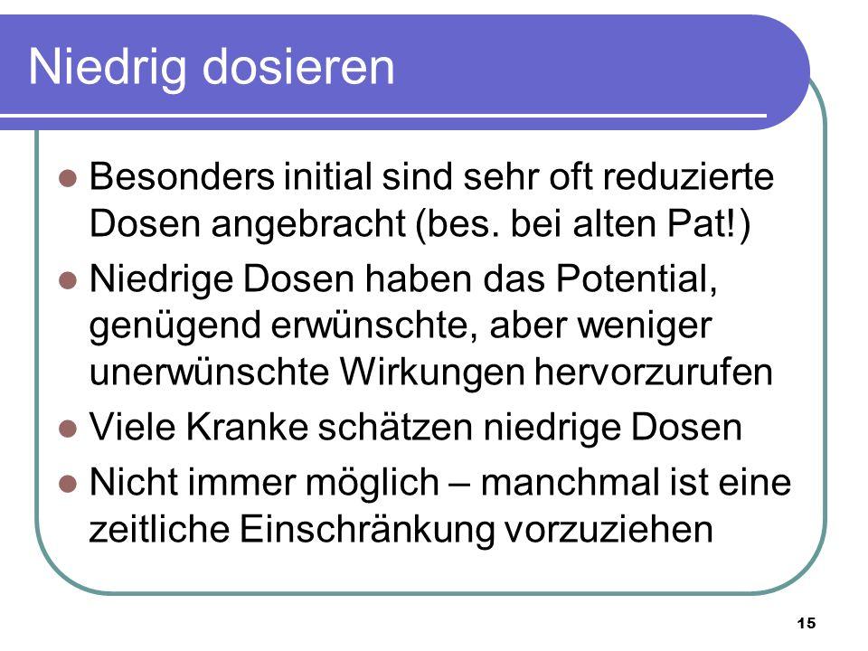Niedrig dosieren Besonders initial sind sehr oft reduzierte Dosen angebracht (bes.