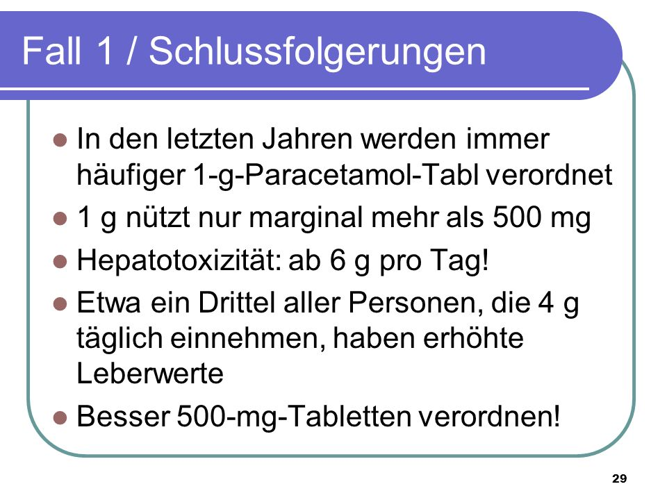 Fall 1 / Schlussfolgerungen In den letzten Jahren werden immer häufiger 1-g-Paracetamol-Tabl verordnet 1 g nützt nur marginal mehr als 500 mg Hepatotoxizität: ab 6 g pro Tag.