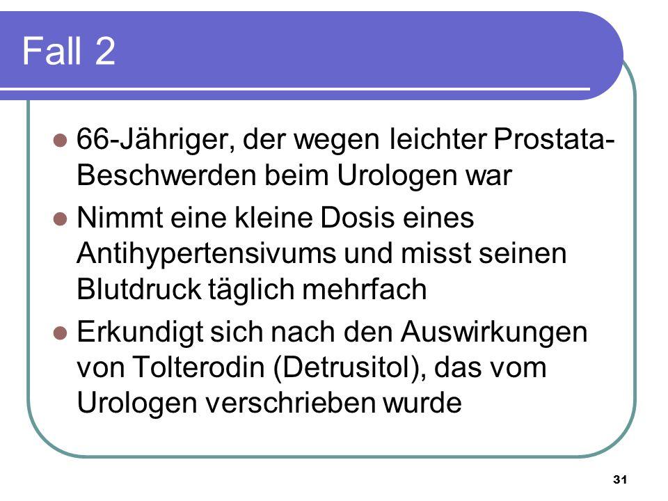 Fall 2 66-Jähriger, der wegen leichter Prostata- Beschwerden beim Urologen war Nimmt eine kleine Dosis eines Antihypertensivums und misst seinen Blutdruck täglich mehrfach Erkundigt sich nach den Auswirkungen von Tolterodin (Detrusitol), das vom Urologen verschrieben wurde 31