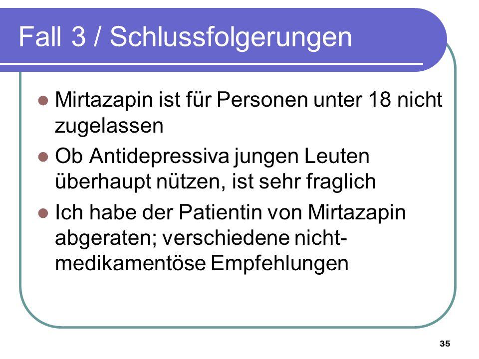 Fall 3 / Schlussfolgerungen Mirtazapin ist für Personen unter 18 nicht zugelassen Ob Antidepressiva jungen Leuten überhaupt nützen, ist sehr fraglich Ich habe der Patientin von Mirtazapin abgeraten; verschiedene nicht- medikamentöse Empfehlungen 35