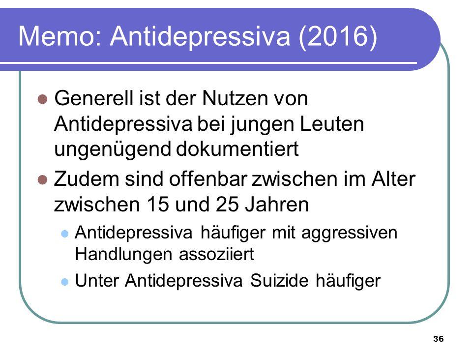 Memo: Antidepressiva (2016) Generell ist der Nutzen von Antidepressiva bei jungen Leuten ungenügend dokumentiert Zudem sind offenbar zwischen im Alter zwischen 15 und 25 Jahren Antidepressiva häufiger mit aggressiven Handlungen assoziiert Unter Antidepressiva Suizide häufiger 36