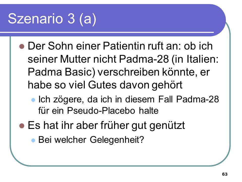 Szenario 3 (a) Der Sohn einer Patientin ruft an: ob ich seiner Mutter nicht Padma-28 (in Italien: Padma Basic) verschreiben könnte, er habe so viel Gutes davon gehört Ich zögere, da ich in diesem Fall Padma-28 für ein Pseudo-Placebo halte Es hat ihr aber früher gut genützt Bei welcher Gelegenheit.