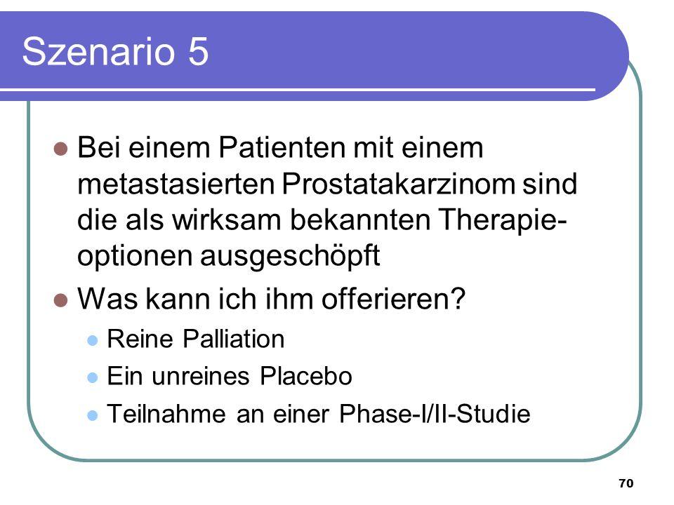 Szenario 5 Bei einem Patienten mit einem metastasierten Prostatakarzinom sind die als wirksam bekannten Therapie- optionen ausgeschöpft Was kann ich ihm offerieren.