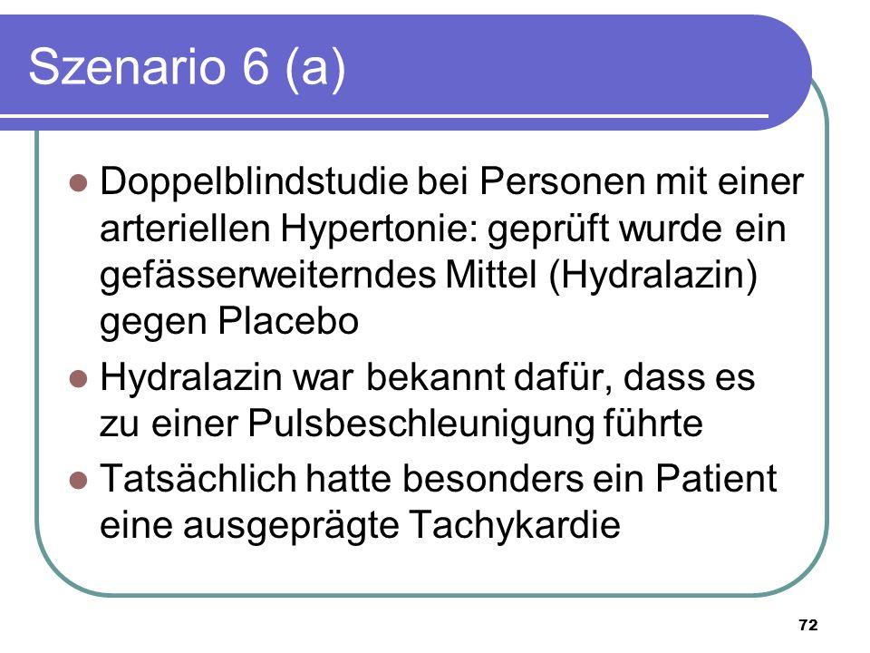 Szenario 6 (a) Doppelblindstudie bei Personen mit einer arteriellen Hypertonie: geprüft wurde ein gefässerweiterndes Mittel (Hydralazin) gegen Placebo Hydralazin war bekannt dafür, dass es zu einer Pulsbeschleunigung führte Tatsächlich hatte besonders ein Patient eine ausgeprägte Tachykardie 72