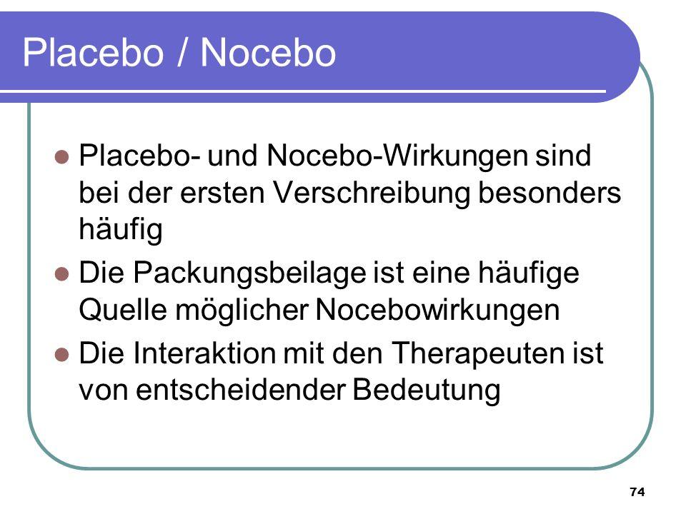 Placebo / Nocebo Placebo- und Nocebo-Wirkungen sind bei der ersten Verschreibung besonders häufig Die Packungsbeilage ist eine häufige Quelle möglicher Nocebowirkungen Die Interaktion mit den Therapeuten ist von entscheidender Bedeutung 74