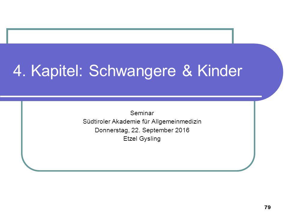 79 4. Kapitel: Schwangere & Kinder Seminar Südtiroler Akademie für Allgemeinmedizin Donnerstag, 22.