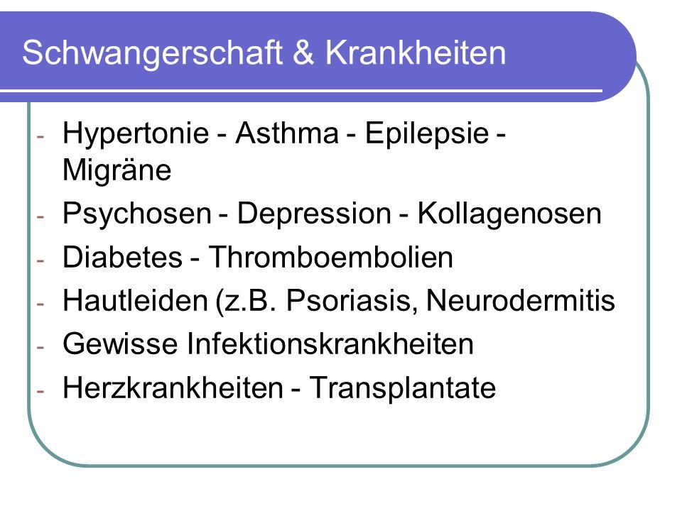 Schwangerschaft & Krankheiten - Hypertonie - Asthma - Epilepsie - Migräne - Psychosen - Depression - Kollagenosen - Diabetes - Thromboembolien - Hautleiden (z.B.
