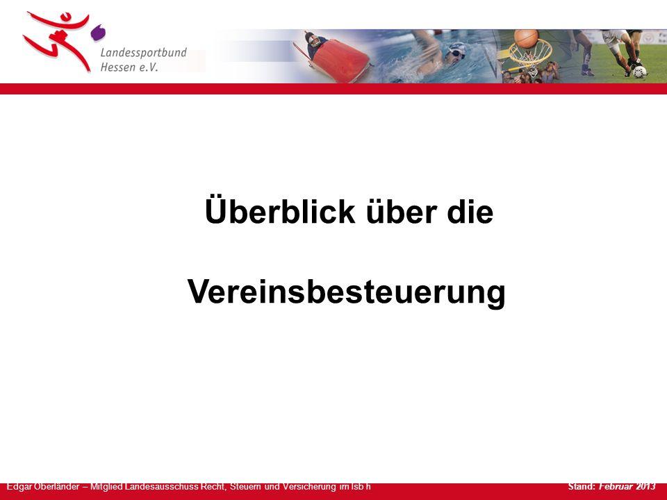 Edgar Oberländer – Mitglied Landesausschuss Recht, Steuern und Versicherung im lsb h Stand: Februar 2013 Überblick über die Vereinsbesteuerung