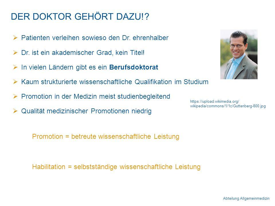 Abteilung Allgemeinmedizin DER DOKTOR GEHÖRT DAZU!.