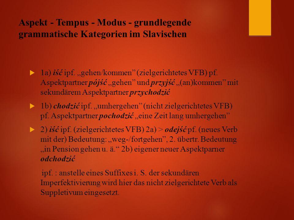 Aspekt - Tempus - Modus - grundlegende grammatische Kategorien im Slavischen  1a) iść ipf.
