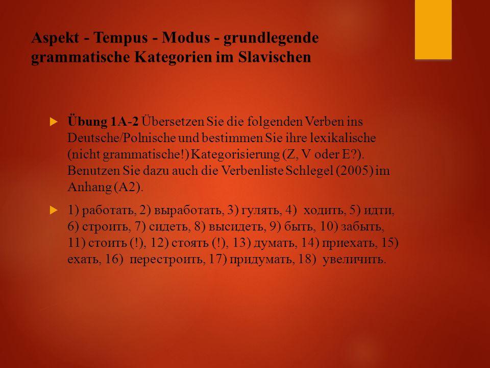Aspekt - Tempus - Modus - grundlegende grammatische Kategorien im Slavischen  Übung 1A-2 Übersetzen Sie die folgenden Verben ins Deutsche/Polnische und bestimmen Sie ihre lexikalische (nicht grammatische!) Kategorisierung (Z, V oder E ).