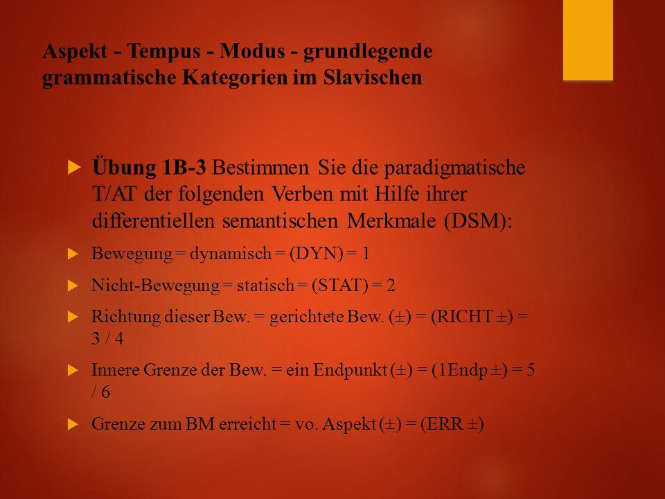 Aspekt - Tempus - Modus - grundlegende grammatische Kategorien im Slavischen  Übung 1B-3 Bestimmen Sie die paradigmatische T/AT der folgenden Verben mit Hilfe ihrer differentiellen semantischen Merkmale (DSM):  Bewegung = dynamisch = (DYN) = 1  Nicht-Bewegung = statisch = (STAT) = 2  Richtung dieser Bew.