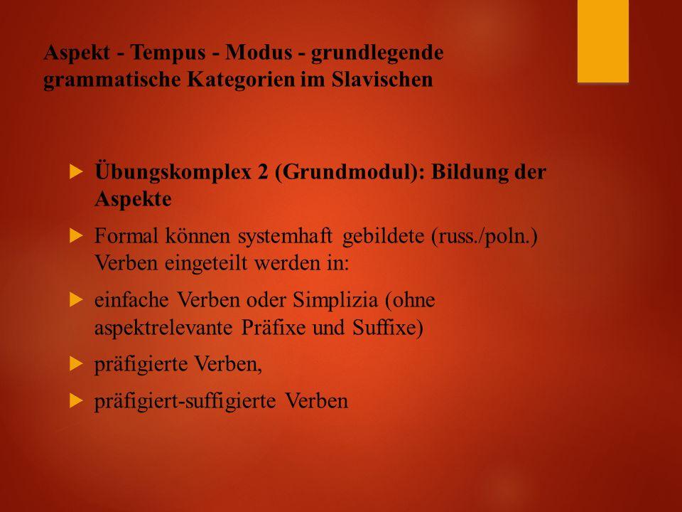 Aspekt - Tempus - Modus - grundlegende grammatische Kategorien im Slavischen  Übungskomplex 2 (Grundmodul): Bildung der Aspekte  Formal können systemhaft gebildete (russ./poln.) Verben eingeteilt werden in:  einfache Verben oder Simplizia (ohne aspektrelevante Präfixe und Suffixe)  präfigierte Verben,  präfigiert-suffigierte Verben