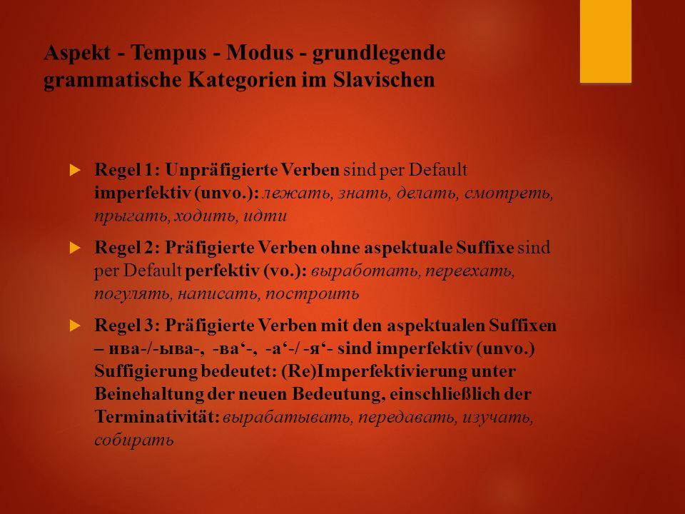 Aspekt - Tempus - Modus - grundlegende grammatische Kategorien im Slavischen  Regel 1: Unpräfigierte Verben sind per Default imperfektiv (unvo.): лежать, знать, делать, смотреть, прыгать, ходить, идти  Regel 2: Präfigierte Verben ohne aspektuale Suffixe sind per Default perfektiv (vo.): выработать, переехать, погулять, написать, построить  Regel 3: Präfigierte Verben mit den aspektualen Suffixen – ива-/-ыва-, -ва'-, -а'-/ -я'- sind imperfektiv (unvo.) Suffigierung bedeutet: (Re)Imperfektivierung unter Beinehaltung der neuen Bedeutung, einschließlich der Terminativität: вырабатывать, передавать, изучать, собирать