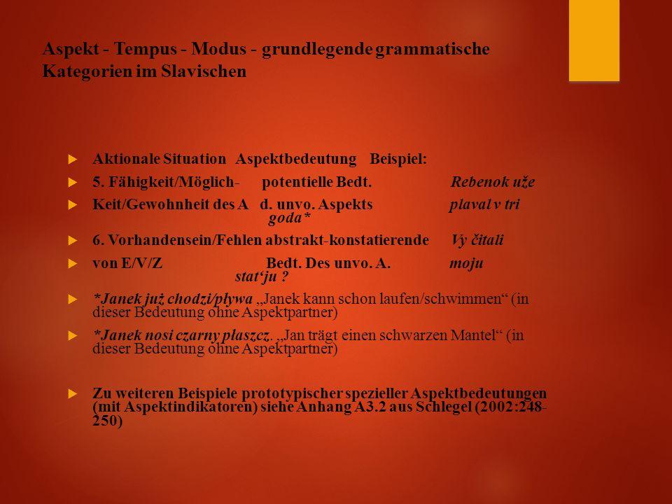 Aspekt - Tempus - Modus - grundlegende grammatische Kategorien im Slavischen  Aktionale Situation Aspektbedeutung Beispiel:  5.