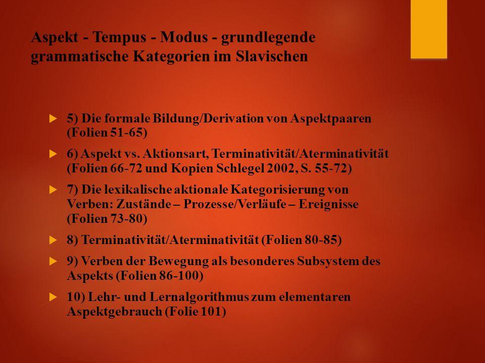 Aspekt - Tempus - Modus - grundlegende grammatische Kategorien im Slavischen  5) Die formale Bildung/Derivation von Aspektpaaren (Folien 51-65)  6) Aspekt vs.