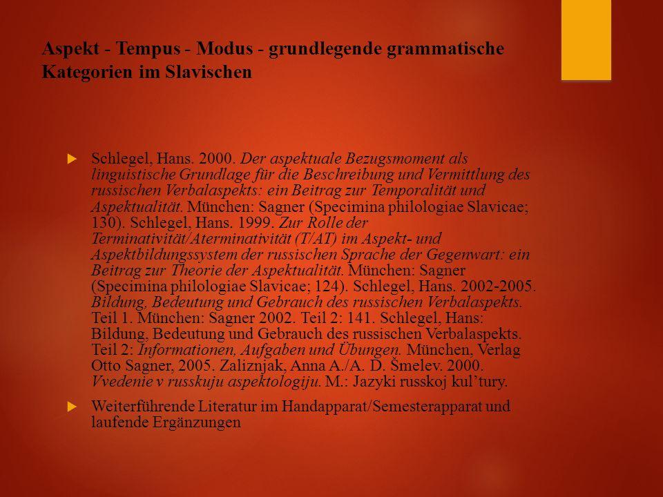 Aspekt - Tempus - Modus - grundlegende grammatische Kategorien im Slavischen  Schlegel, Hans.