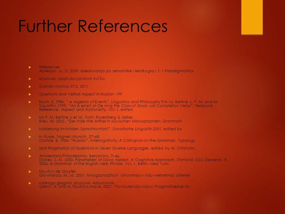 Further References  References Apresjan, Ju. D. 2009.