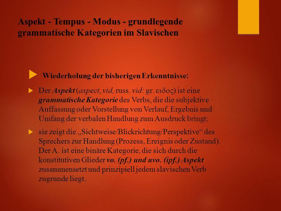 Aspekt - Tempus - Modus - grundlegende grammatische Kategorien im Slavischen  Wiederholung der bisherigen Erkenntnisse :  Der Aspekt (aspect, vid, russ.
