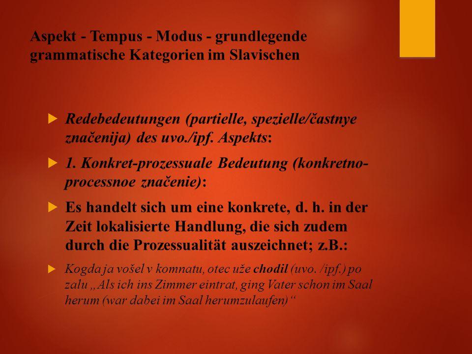 Aspekt - Tempus - Modus - grundlegende grammatische Kategorien im Slavischen  Redebedeutungen (partielle, spezielle/častnye značenija) des uvo./ipf.