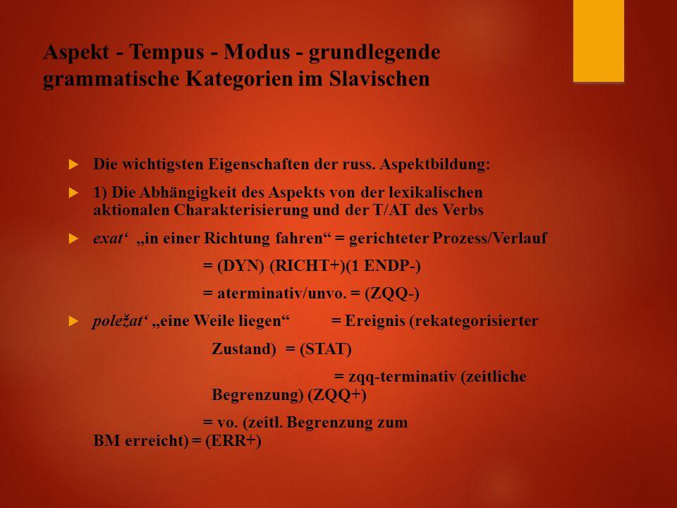 Aspekt - Tempus - Modus - grundlegende grammatische Kategorien im Slavischen  Die wichtigsten Eigenschaften der russ.