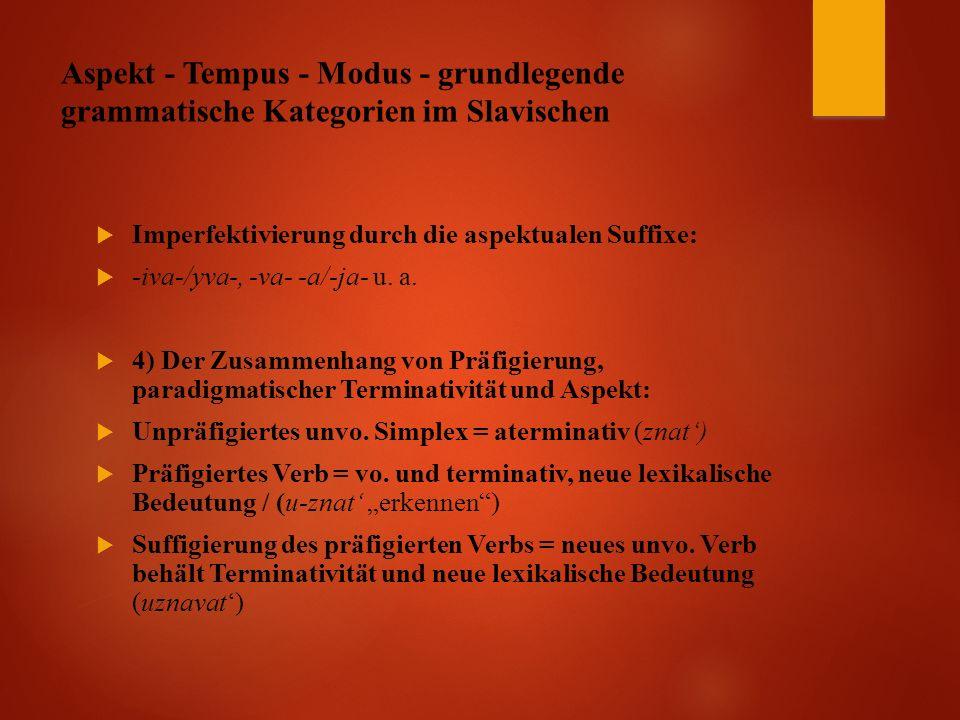 Aspekt - Tempus - Modus - grundlegende grammatische Kategorien im Slavischen  Imperfektivierung durch die aspektualen Suffixe:  -iva-/yva-, -va- -a/-ja- u.