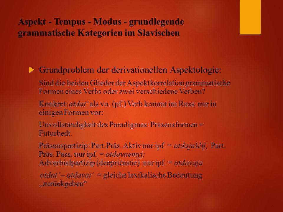 Aspekt - Tempus - Modus - grundlegende grammatische Kategorien im Slavischen  Grundproblem der derivationellen Aspektologie: Sind die beiden Glieder der Aspektkorrelation grammatische Formen eines Verbs oder zwei verschiedene Verben.
