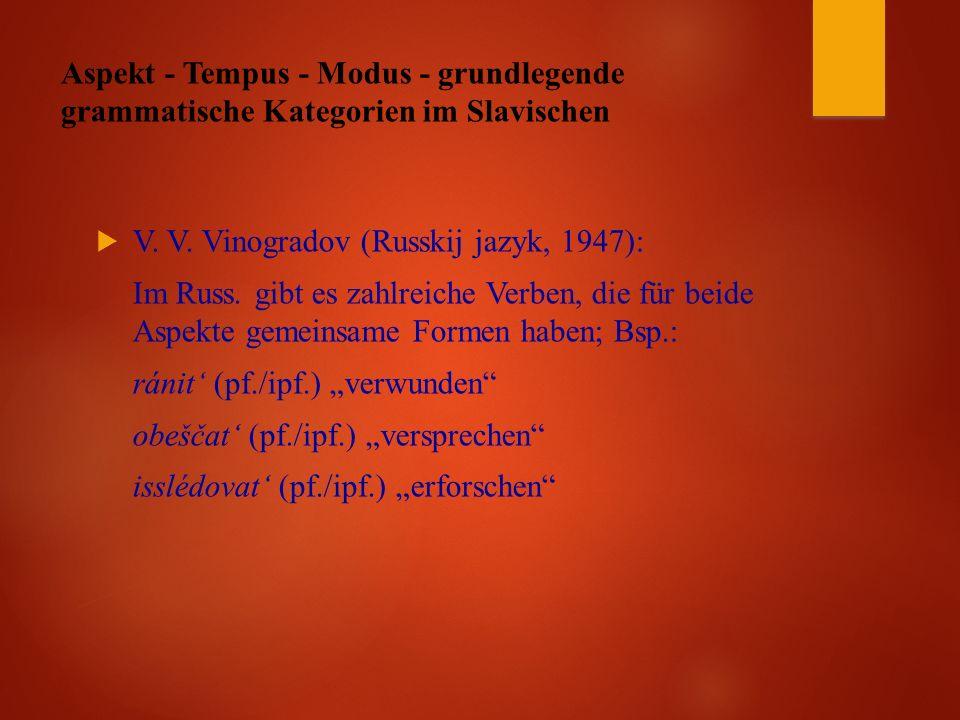 Aspekt - Tempus - Modus - grundlegende grammatische Kategorien im Slavischen  V.