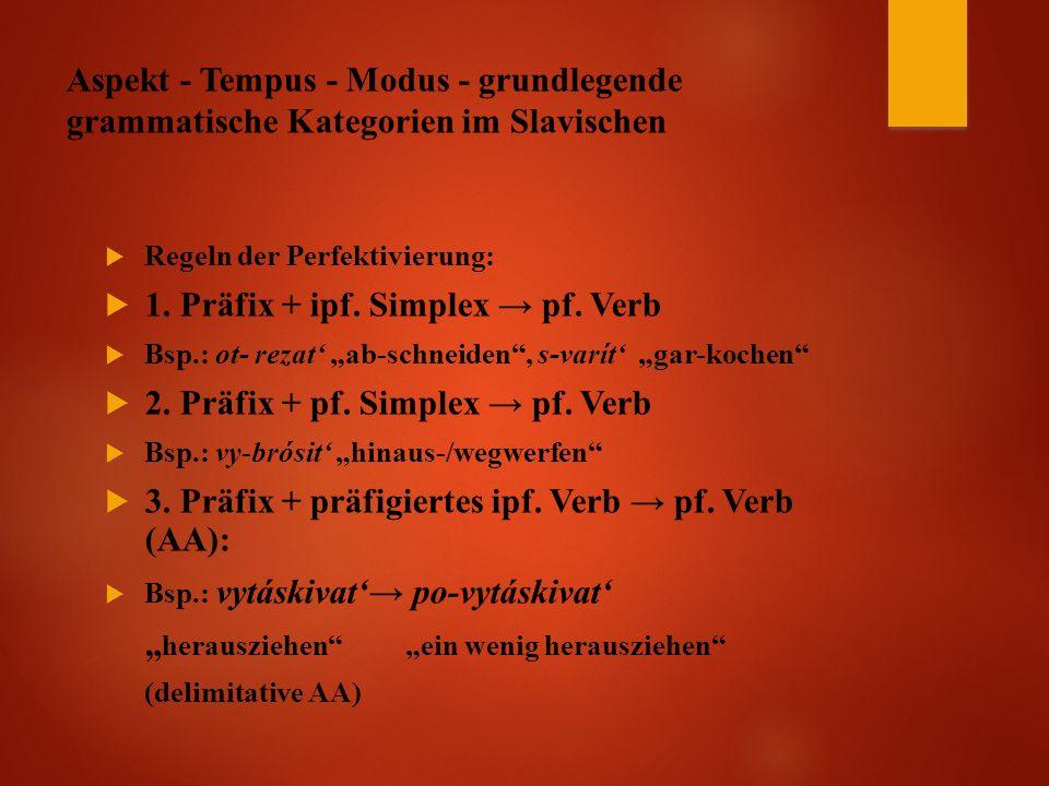 Aspekt - Tempus - Modus - grundlegende grammatische Kategorien im Slavischen  Regeln der Perfektivierung:  1.