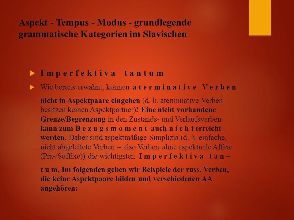 Aspekt - Tempus - Modus - grundlegende grammatische Kategorien im Slavischen  I m p e r f e k t i v a t a n t u m  Wie bereits erwähnt, können a t e r m i n a t i v e V e r b e n nicht in Aspektpaare eingehen (d.