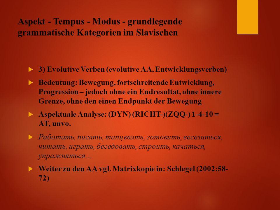 Aspekt - Tempus - Modus - grundlegende grammatische Kategorien im Slavischen  3) Evolutive Verben (evolutive AA, Entwicklungsverben)  Bedeutung: Bewegung, fortschreitende Entwicklung, Progression – jedoch ohne ein Endresultat, ohne innere Grenze, ohne den einen Endpunkt der Bewegung  Aspektuale Analyse: (DYN) (RICHT-)(ZQQ-) 1-4-10 = AT, unvo.