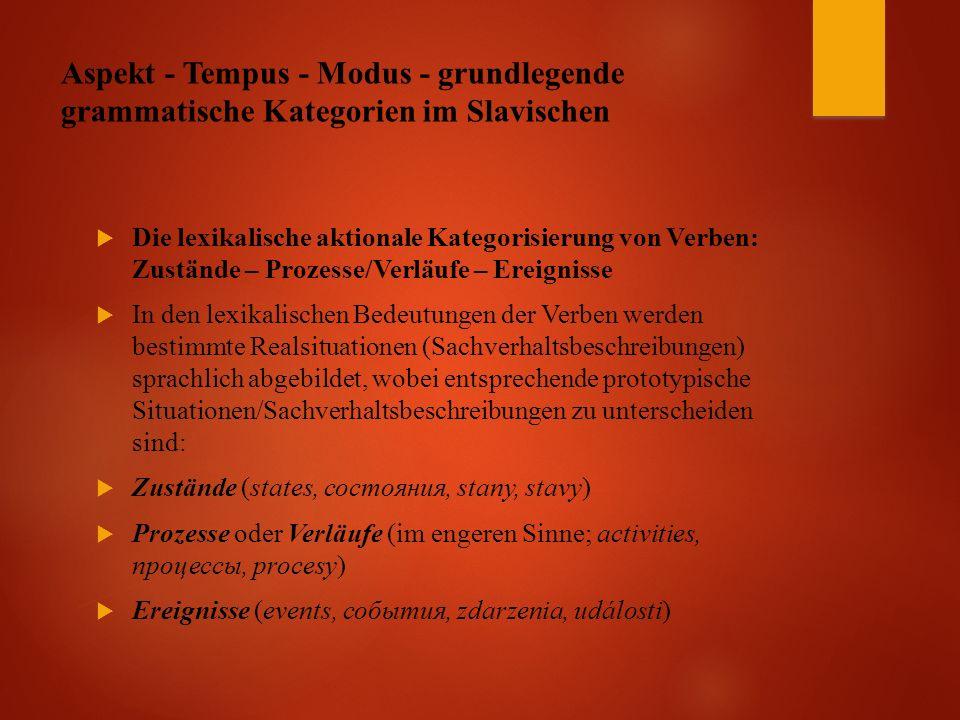 Aspekt - Tempus - Modus - grundlegende grammatische Kategorien im Slavischen  Die lexikalische aktionale Kategorisierung von Verben: Zustände – Prozesse/Verläufe – Ereignisse  In den lexikalischen Bedeutungen der Verben werden bestimmte Realsituationen (Sachverhaltsbeschreibungen) sprachlich abgebildet, wobei entsprechende prototypische Situationen/Sachverhaltsbeschreibungen zu unterscheiden sind:  Zustände (states, состояния, stany, stavy)  Prozesse oder Verläufe (im engeren Sinne; activities, процессы, procesy)  Ereignisse (events, события, zdarzenia, události)