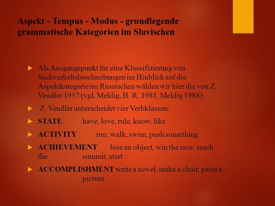 Aspekt - Tempus - Modus - grundlegende grammatische Kategorien im Slavischen  Als Ausgangspunkt für eine Klassifizierung von Sachverhaltsbeschreibungen im Hinblick auf die Aspektkategorie im Russischen wählen wir hier die von Z.