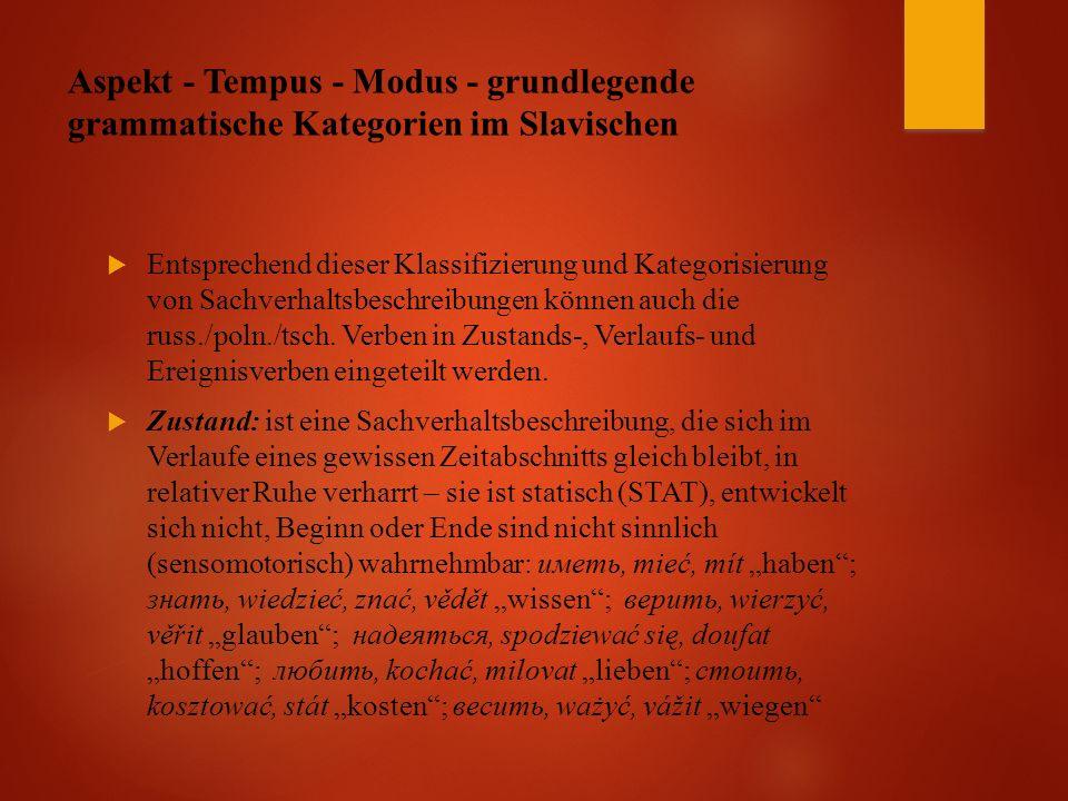 Aspekt - Tempus - Modus - grundlegende grammatische Kategorien im Slavischen  Entsprechend dieser Klassifizierung und Kategorisierung von Sachverhaltsbeschreibungen können auch die russ./poln./tsch.