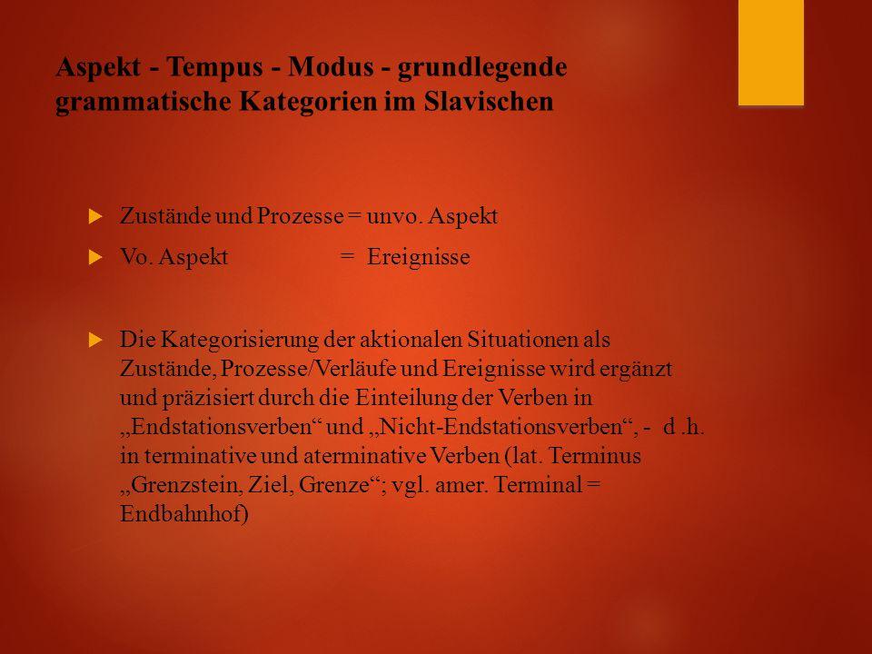 Aspekt - Tempus - Modus - grundlegende grammatische Kategorien im Slavischen  Zustände und Prozesse = unvo.