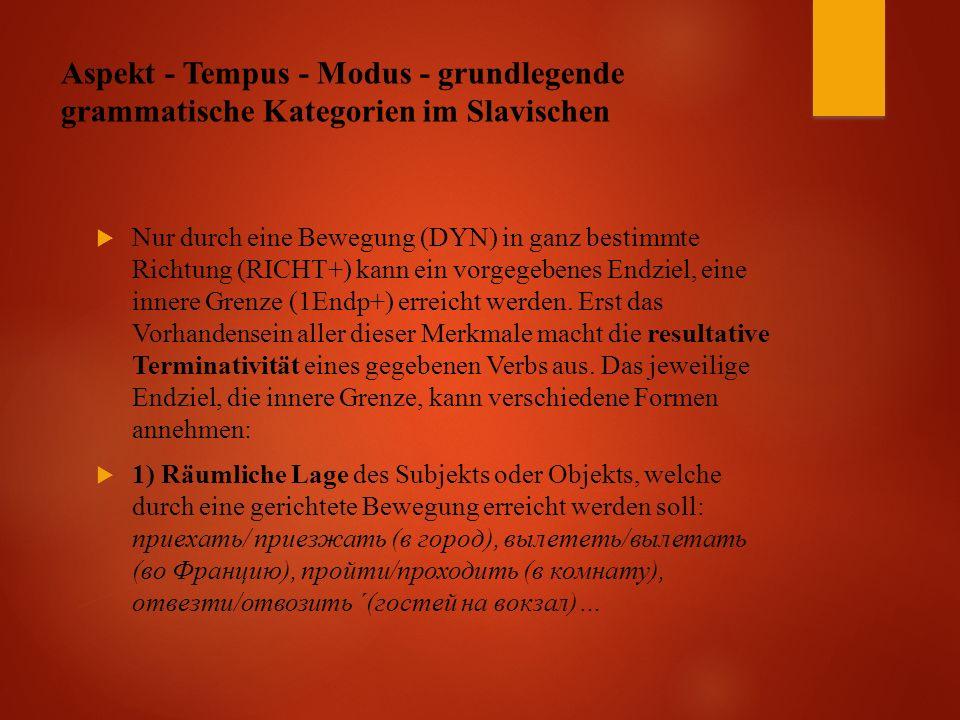 Aspekt - Tempus - Modus - grundlegende grammatische Kategorien im Slavischen  Nur durch eine Bewegung (DYN) in ganz bestimmte Richtung (RICHT+) kann ein vorgegebenes Endziel, eine innere Grenze (1Endp+) erreicht werden.