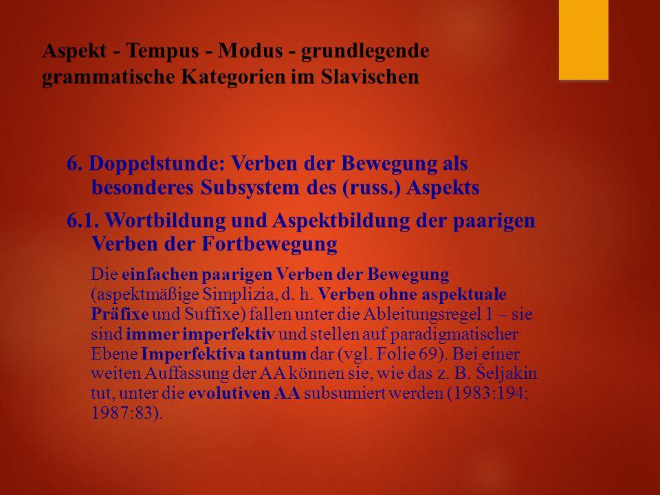Aspekt - Tempus - Modus - grundlegende grammatische Kategorien im Slavischen 6.