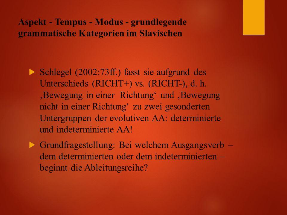 Aspekt - Tempus - Modus - grundlegende grammatische Kategorien im Slavischen  Schlegel (2002:73ff.) fasst sie aufgrund des Unterschieds (RICHT+) vs.