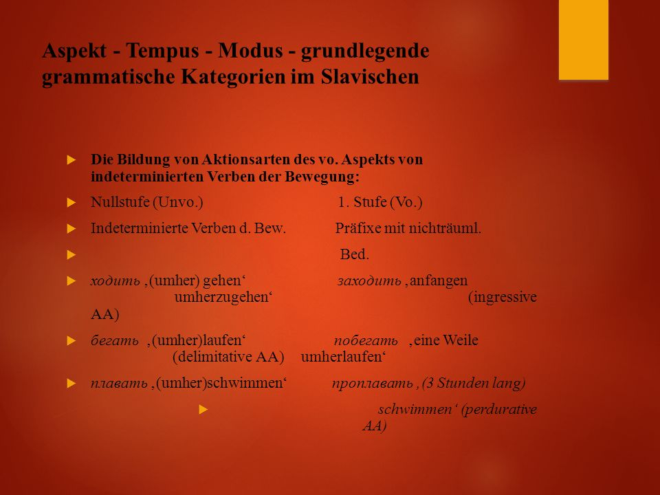 Aspekt - Tempus - Modus - grundlegende grammatische Kategorien im Slavischen  Die Bildung von Aktionsarten des vo.