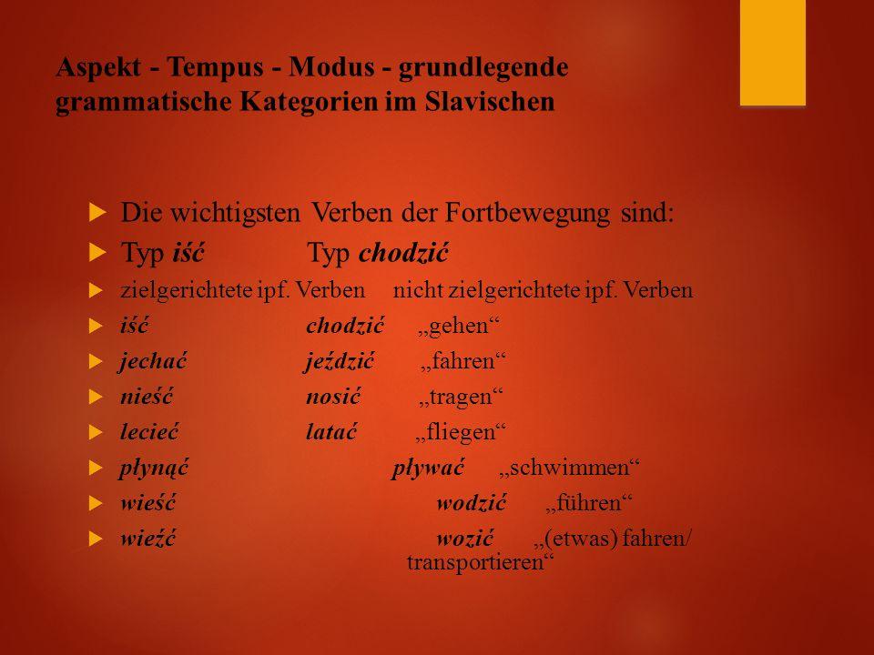 Aspekt - Tempus - Modus - grundlegende grammatische Kategorien im Slavischen  Die wichtigsten Verben der Fortbewegung sind:  Typ iść Typ chodzić  zielgerichtete ipf.