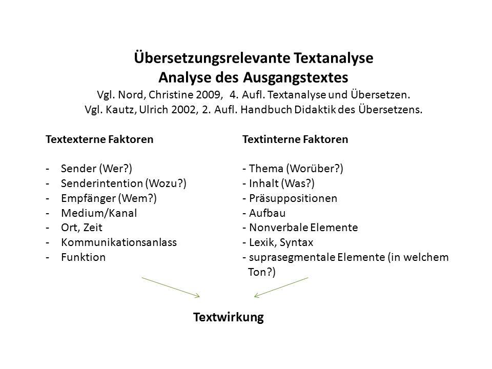 Übersetzungsrelevante Textanalyse Analyse des Ausgangstextes Vgl.